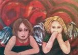 Kunst-Postkarte | Lesezeichen: *2 Engel & 2 Herzen*